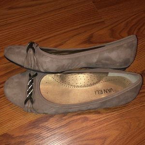 Vaneli Suede Flats with Sparkle Detail on Toes